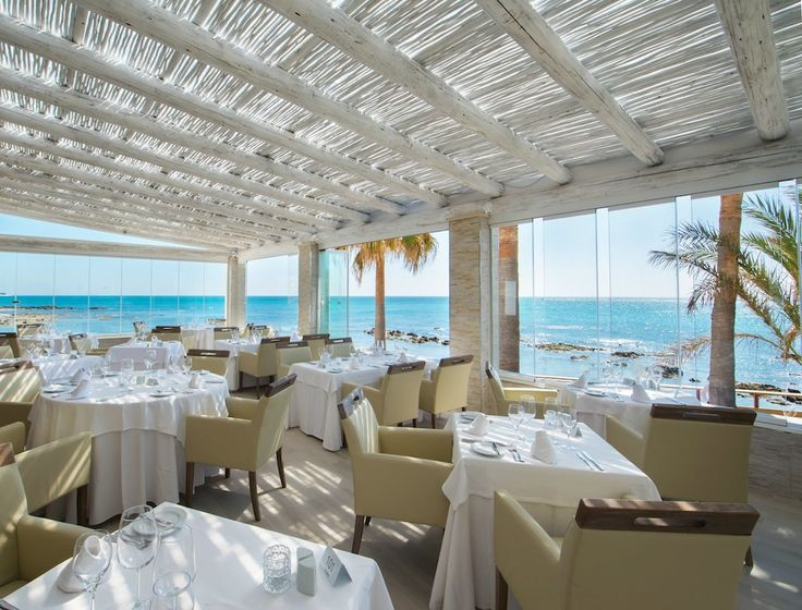 Timber whitewash pergola at El Oceano Restaurant & Hotel, Marbella, Spain
