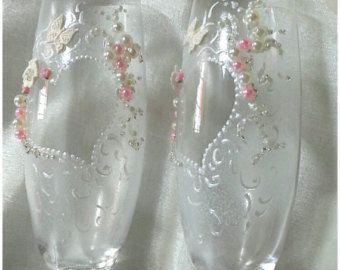 mano verniciato sposa bicchieri calici per le nozze in di Aligri