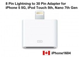 New Lightning to 30 pin Adapter Connector For iPhone 5 iPod NANO Touch.    Price : $18.50