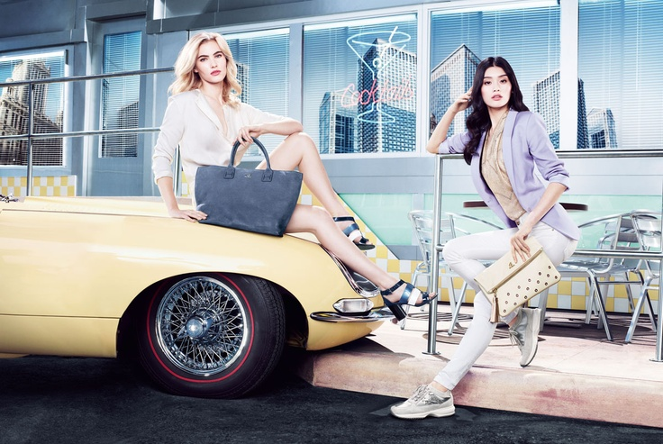 HOGAN Women's Spring - Summer 2013 campaign: spring time bright colors featuring Emily Baker and Ming Xi.