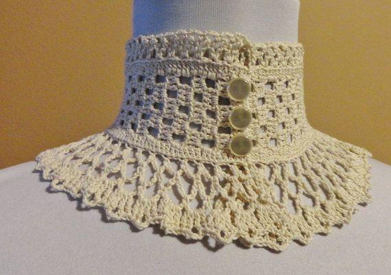 Ivory Steampunk Victorian Lace Crochet  Choker Medium Neck Height