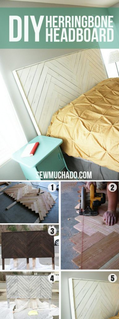 Check out how to make this easy DIY Herringbone Headboard @istandarddesign