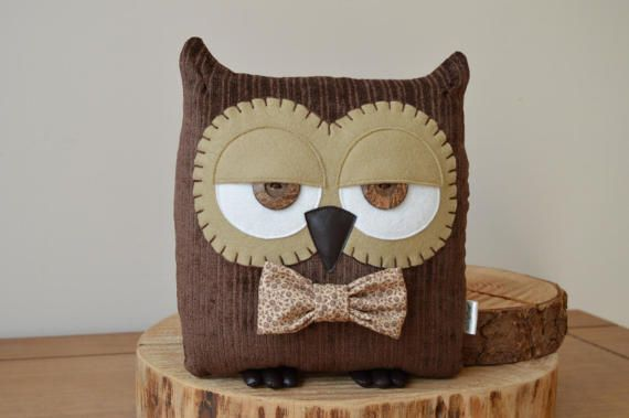 """Mother's Day Gift, Owl Cushion, Owl Pillow, Plush Owl, Decorative Owl, Woodland Pillow (Brown with Custom Bow Tie) - """"Terry the Owl"""""""