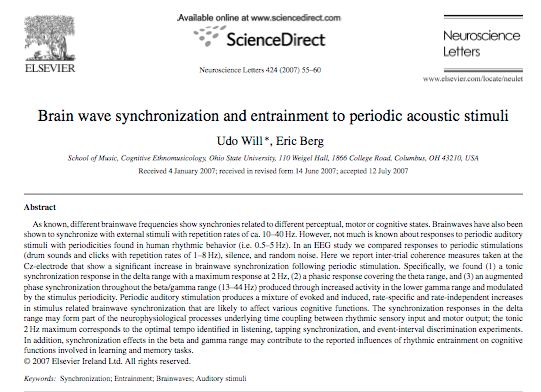 Brain wave synchronization and entrainment to periodic acoustic stimuli. (Will U, Berg E. 2007)  Brainwave entrainment study using rhythmic (non BB) auditory cues that supports BWE.