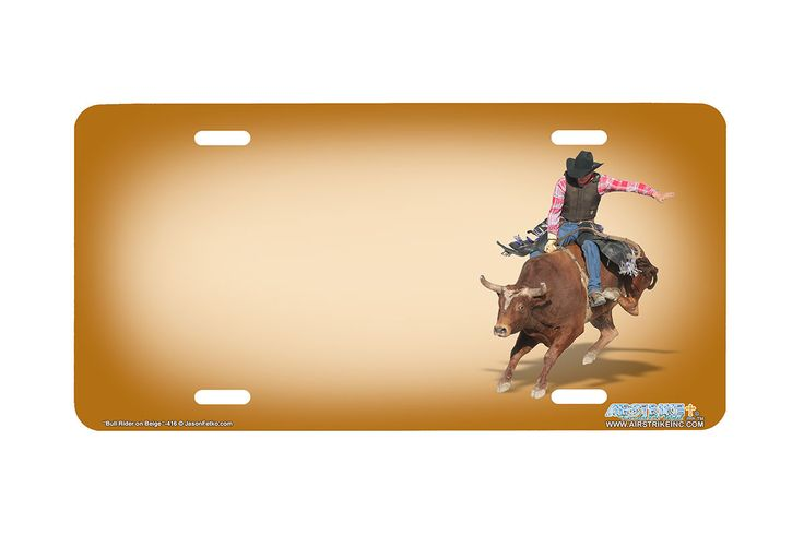 "Airstrike® 416-"" Bull Rider on Beige"" Bull Rider License Plates"