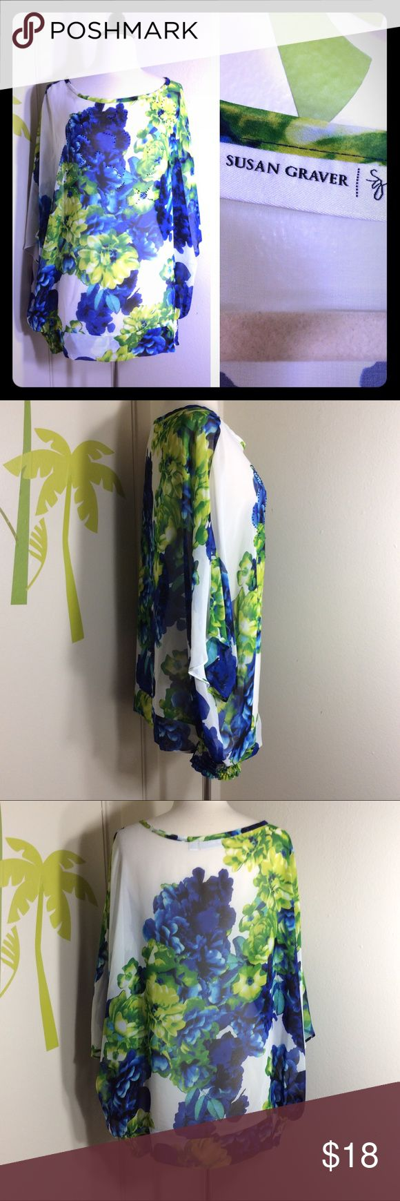 Susan Graver Green Sheer Floral Top Size 1X In great condition. Size 1X. Sheer, see through. Colored rhinestones on chest area. Susan Graver Tops Blouses