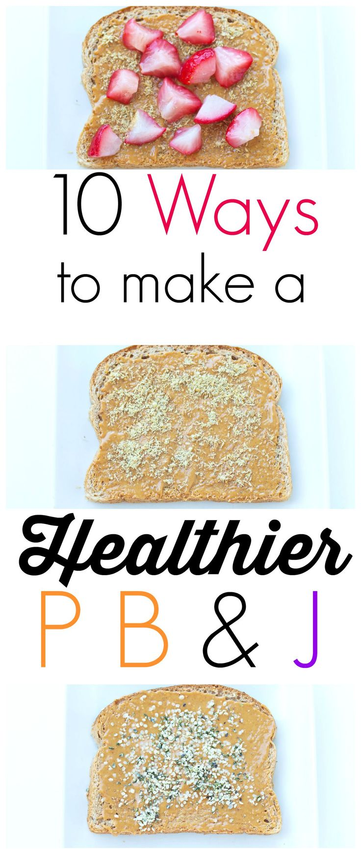 10 Ways to Make Your Peanut Butter and Jelly Sandwich Healthier!  If your children love PB&J, find out how you can make it the healthiest sandwich ever! Great to read as you plan your back to school lunch ideas.  Make this classic sandwich as healthy as you can with these great tips.