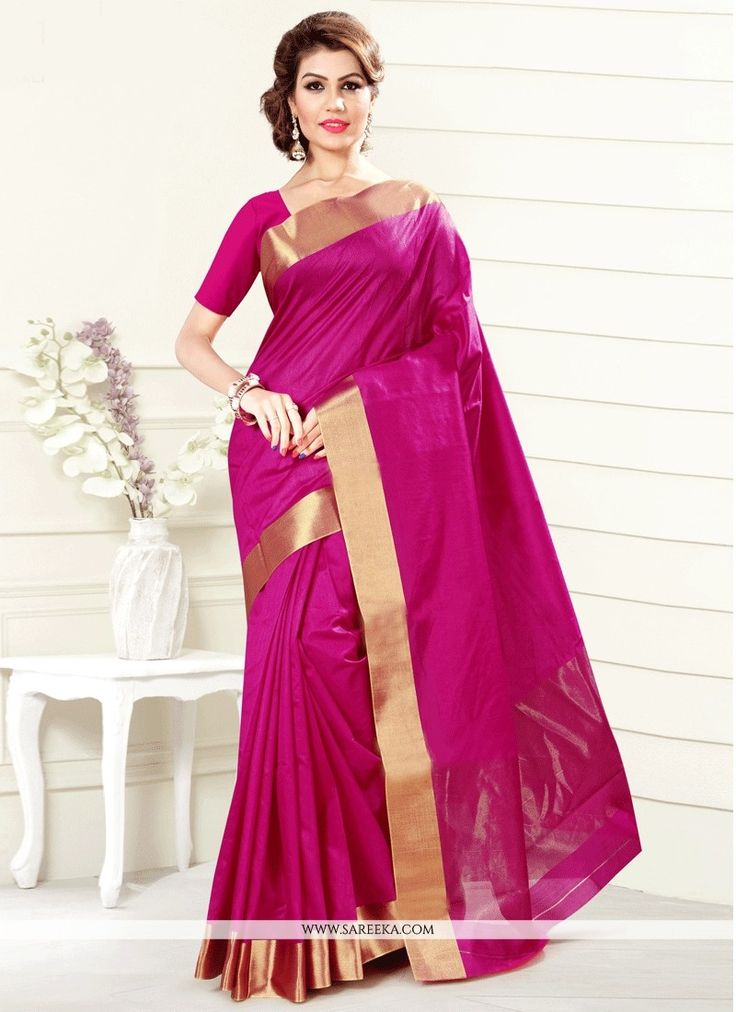 Sensible colors & excellent designs and romantic moods are reflected with an alluring style. This hot pink art silk casual saree is accenting the gorgeous feeling. The print work looks chic and perfec...
