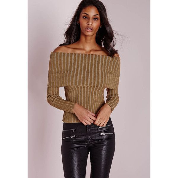 Missguided Bardot Ribbed Jumper ($34) ❤ liked on Polyvore featuring tops, sweaters, camel, brown tops, camel sweater, rib sweater, brown sweater and jumper top