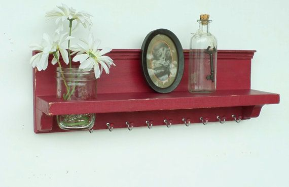 Barn Red Jewelry Shelf - Key Hooks Mason Jar - Made by cottagehomedecor, $35.00