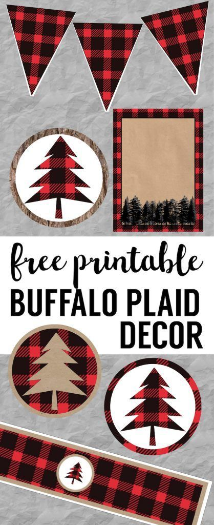 Buffalo Plaid Lumberjack Christmas party decor, birthday party, or baby shower free printables. Easy DIY Christmas, birthday, or baby shower decorations. Rustic woodland printables.