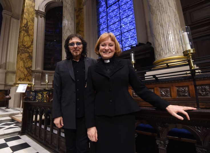 Tony Iommi and the Dean of Birmingham, the Very Reverend Catherine Ogle...