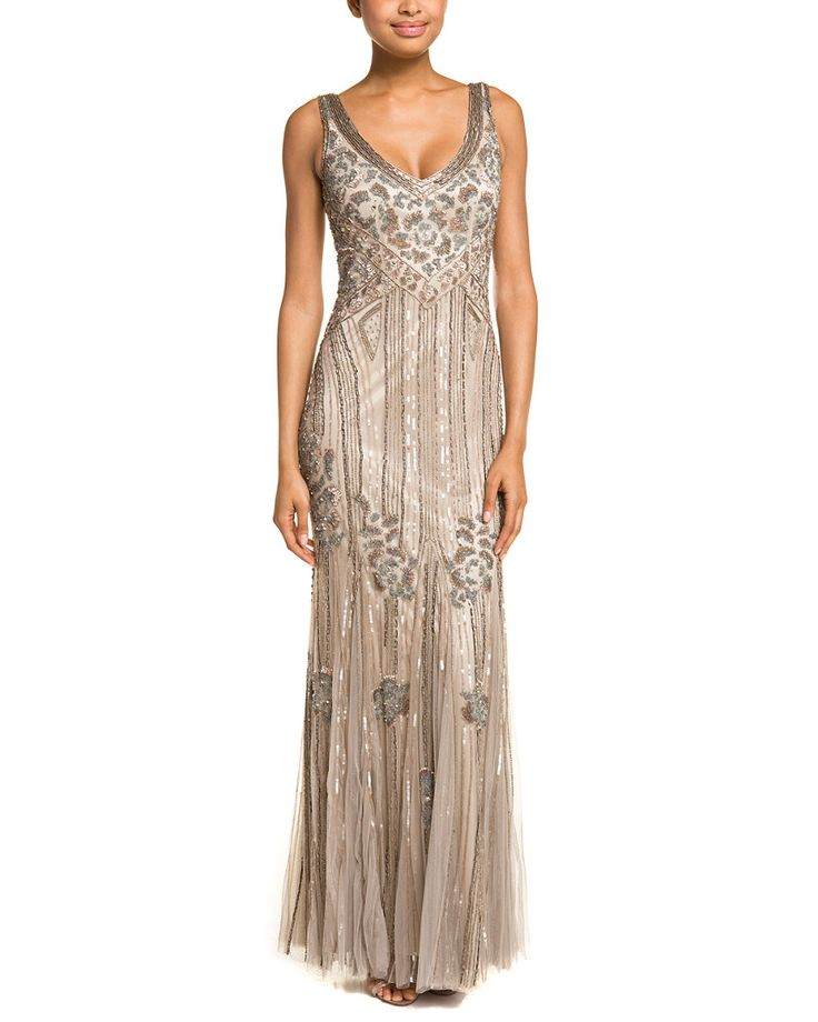 Cheap Wedding Dresses Austin: Theia Taupe Beaded Deco Print Gown Is On Rue. Shop It Now