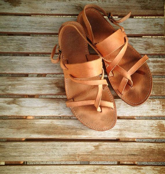 Leather Sandals genuine with straps handmade traditional  greek style. Just bought these :)