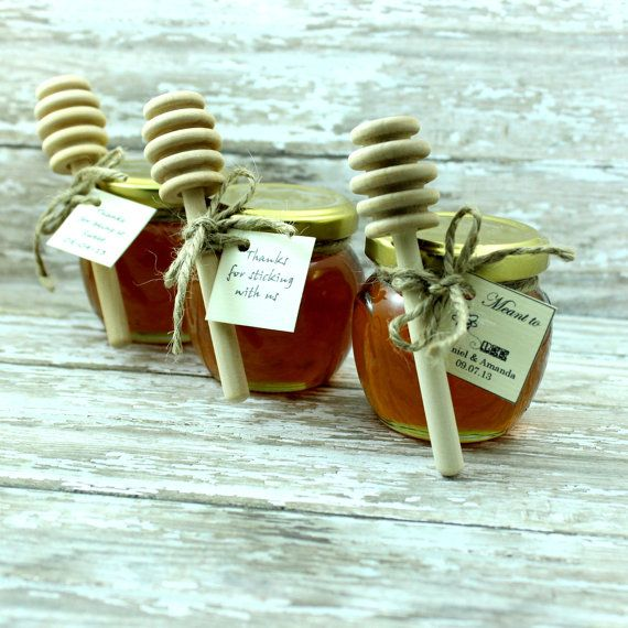 SET OF 24 Rustic wedding honey jar favors with honey dipper stick country chic  barn wedding party favors, bridal showers honey pot on Etsy, $118.80