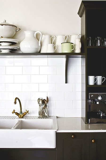 open shelving, white subway tile