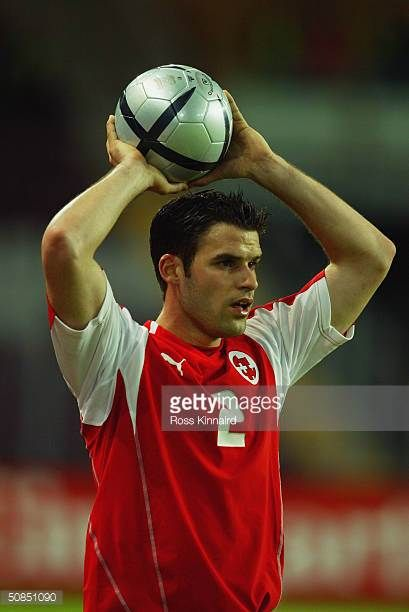 Bernt Haas of Switzerland takes a throw in during the Friendly International match between Switzerland and Slovenia at The Stade de Geneve on April...