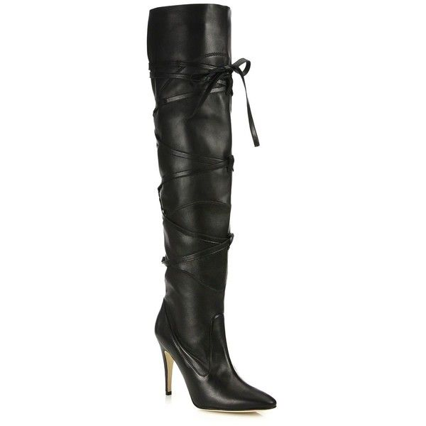 Manolo Blahnik Cavaba Lace-Up Leather Over-The-Knee Boots ($2,010) ❤ liked on Polyvore featuring shoes, boots, apparel & accessories, black, thigh high lace up boots, black thigh boots, thigh high leather boots, leather lace up boots and over the knee lace up boots