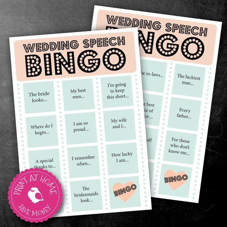 Fun and games keep the celebration lighthearted. Keep the crowd entertained with a game of wedding speech bingo.