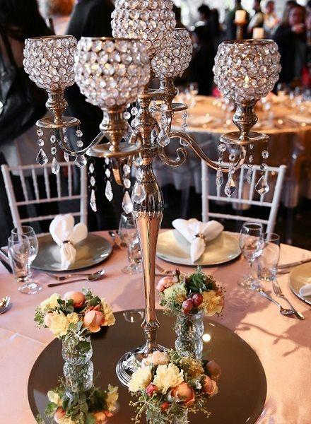 5 arm crystal candelabra globe wedding centerpiece - Google Search