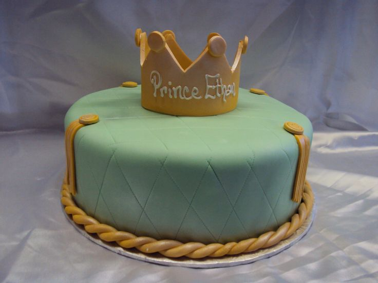Prince baby shower cake with fondant crown by SugarBakers ...