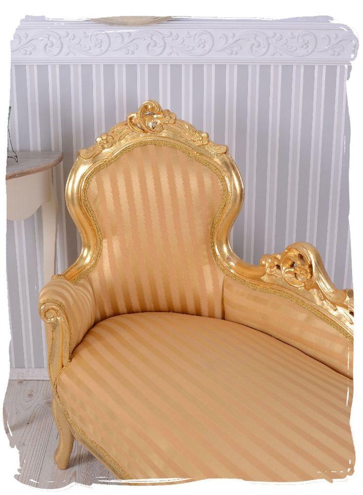 Landhausmöbel Sofa Ottomane Chiemgau ~ Vintage Sofa Rokoko Recamiere Chaiselongue Gold Liege Barock 389,00