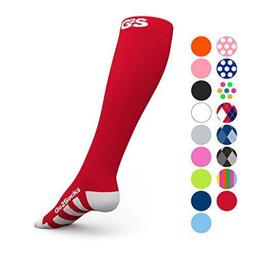 Go2 Compression Socks (1 Pair) for Women and Men Athletic Running Socks for Nurses Medical Graduated Nursing Compression Socks for Travel Running Sports Socks(Red Large)