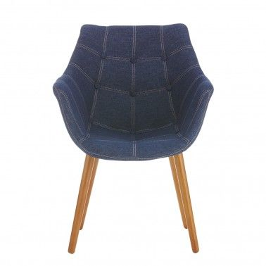 The Nick Scali Fiori Arm Chair is a quaint occasional chair with a unique buttoned, denim like cover. Could work well in a reading room.