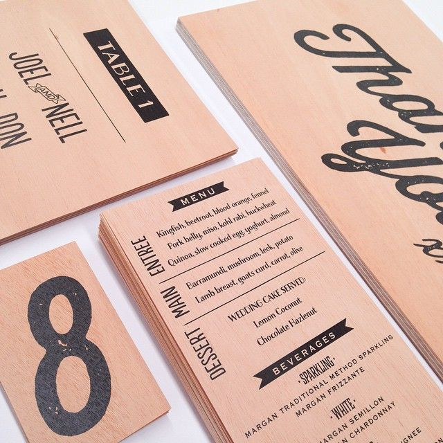 Wedding stationary printed for a lovely client on #mahoganywood including menus, table numbers and a block mounted sign