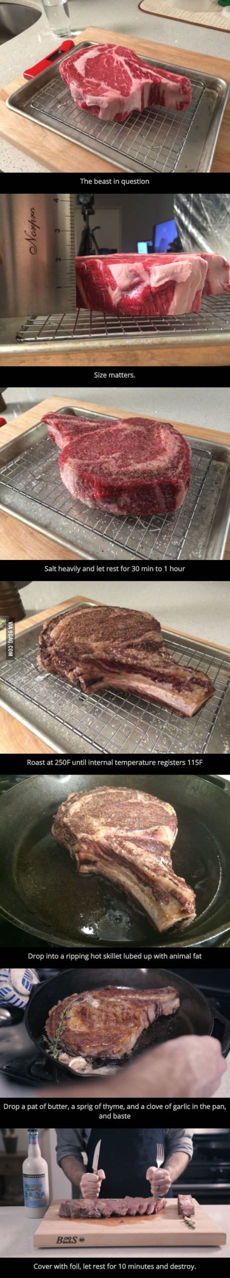 """2"""" prime rib eye, reverse seared and butter basted"""