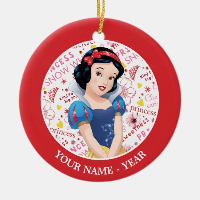 Princess Snow White Crossing Arms Add Your Name Ceramic Ornament Ceramic Ornaments White Elephant Gifts Funny Disney Christmas Ornaments