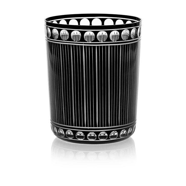 CHRONICA | Handmade Glass Blown Medium Tumbler, Chronica-Black 1923, height: 100 mm | top diameter: 82 mm | volume: 330 ml | Bohemian Crystal | Crystal Glass | Luxurious Glass | Hand Engraved | Original Gift for Everyone | clarescoglass