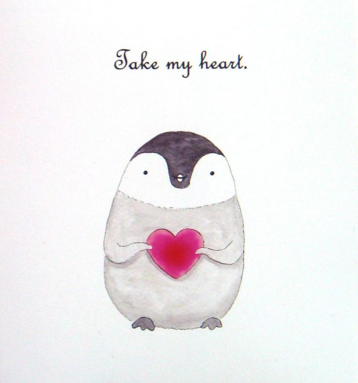 Baby Penguin Illustration Print Red Heart Home Wall Decor Cute Nursery Art 4x6. $7.99, via Etsy.