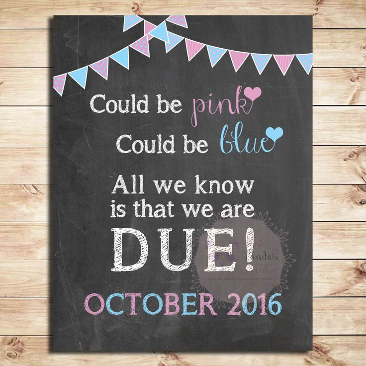 Pregnancy announcement, photo prop, expecting, idea, sign, Could be pink, could be blue, All we know is that we are due, poster, announcement, due date by PinkPandasPrints on Etsy