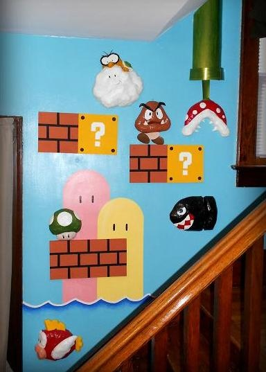 awesome idea for ill ramon super mario bros mural made of masking tape foam core acrylic