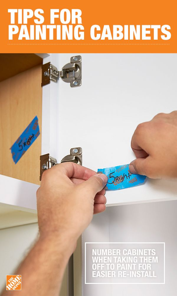 Painting your cabinet doors can give your kitchen a whole new look. But make sure once you detach them, that you number them with painter's tape to make re-attaching them easier. For more tips on painting your cabinets, click through to The Home Depot blog.