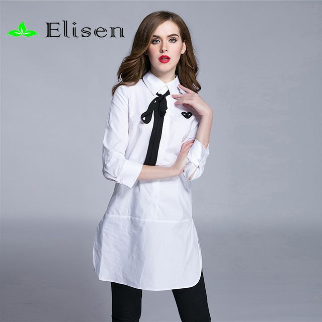 Brand Blouse 2015 Spring New Europe Fashion Bow Turn-Down Collar White / Black Three Quarter Sleeve Casual Embroidery Blouse US $50.00 /piece To Buy Or See Another Product Click On This Link  http://goo.gl/IdJFhm