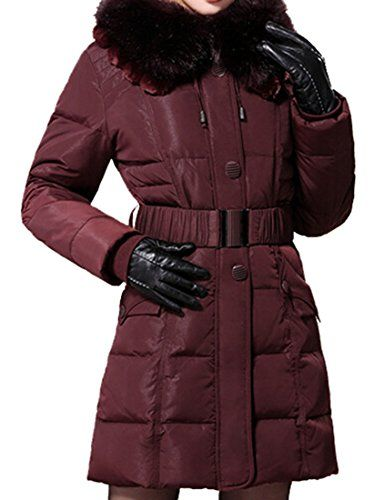 $118.99 (was $357.99) Dark Purple Women's Tops Clothing Belted Coat #YR-1303A #Down Coat Offer Date 01 20