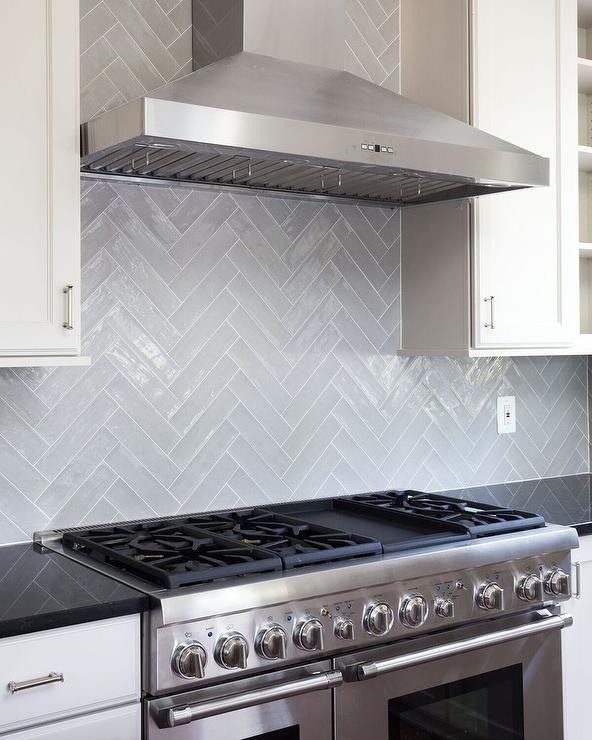 Gray Glazed Herringbone Tile Backsplash Brings Style Class And