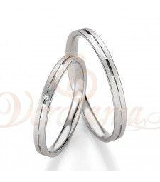 Βέρες γάμου λευκόχρυσες με διαμάντι breuning 4321-4322