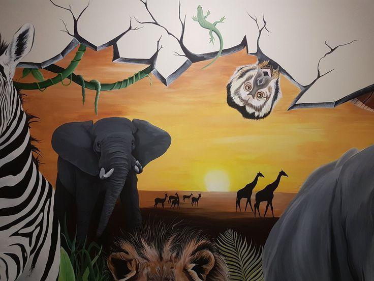 #mural#monkey#lizzard#elephant#giraffe#savhanne#africa#wild#wall#paint