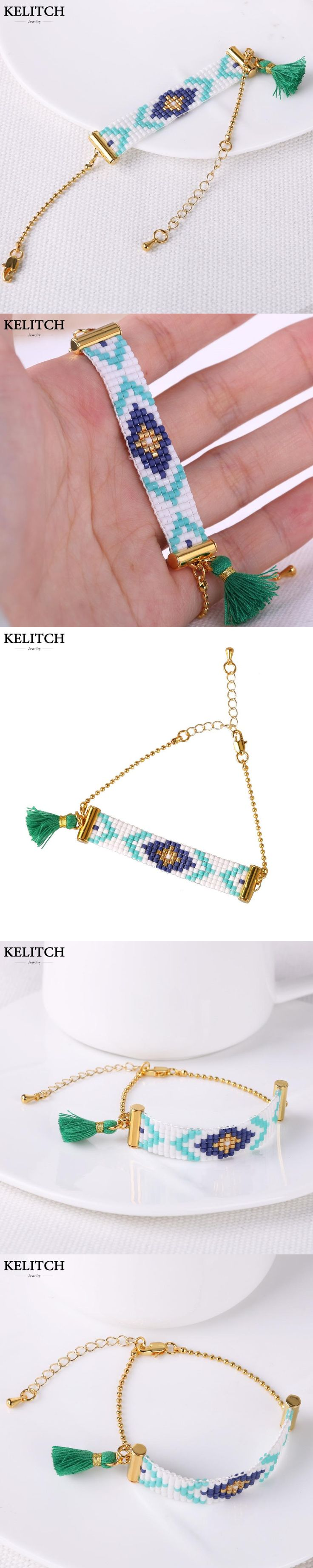 KELITCH Jewelry 2017 New Arrival Multicolor Crystal Beaded Green Tassel Gold Chain Handmade Friendship Bracelet Drop Shipping