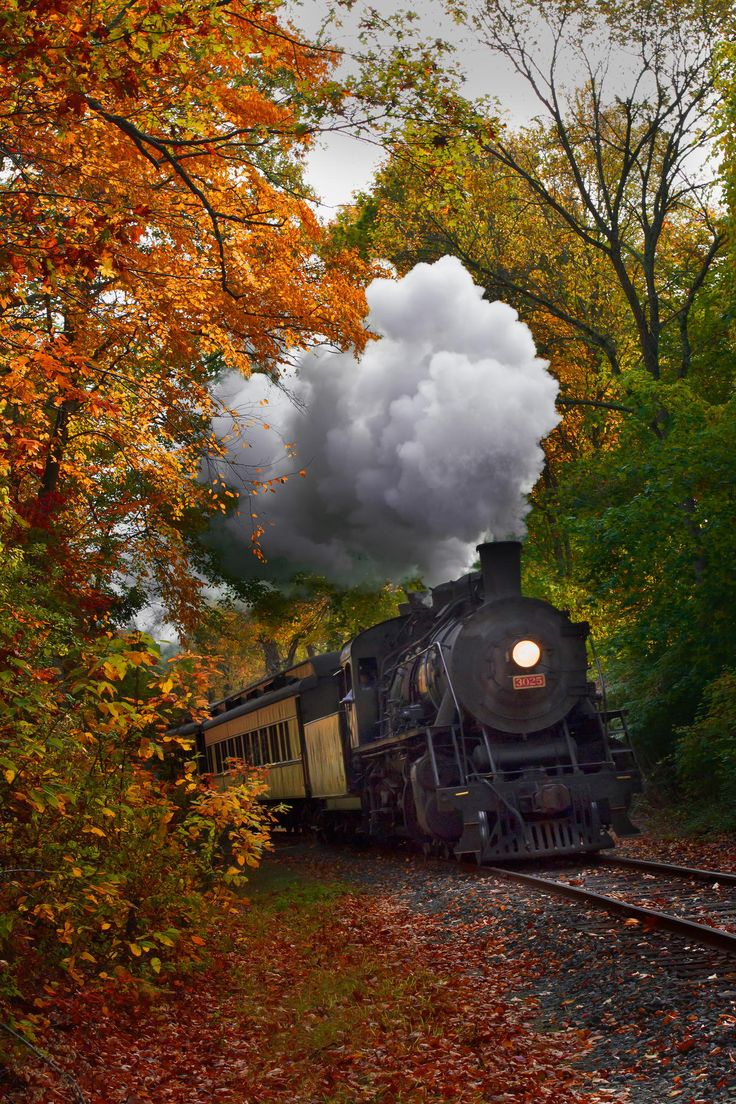 """Autumn Train"" ~ Photo by Jonathan Steele on 500px ~ Essex Steam Train rounding the bend in Essex, Connecticut during one of its Fall Foliage Tours."