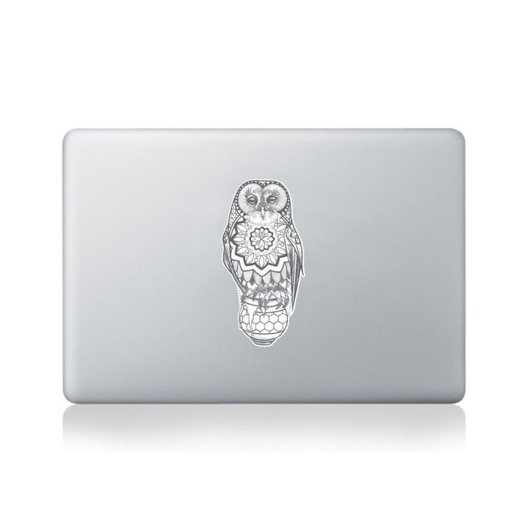 Mandala owl on honey pot vinyl sticker for macbook 13 15 or laptop