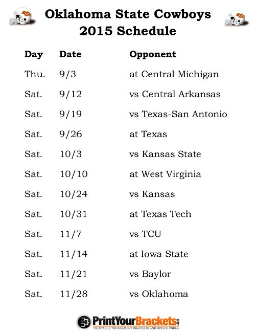 Printable Oklahoma State Cowboys Football Schedule 2015