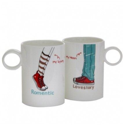 A 3x4 inches romantic love story mugs, each with the very cool prints on it. Make your morning special with this pair of mugs.