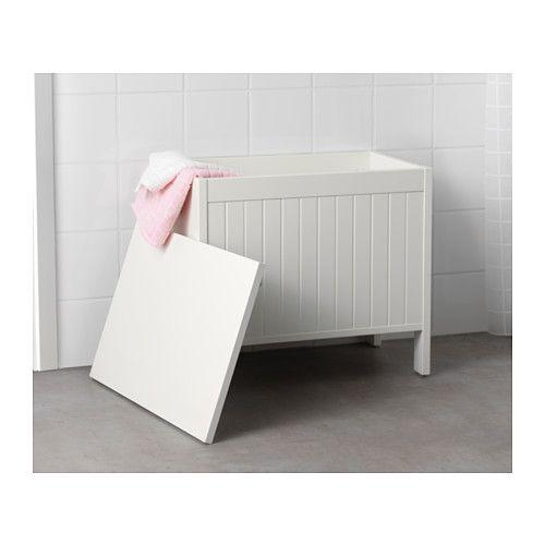 SILVERÅN Storage bench, white white -
