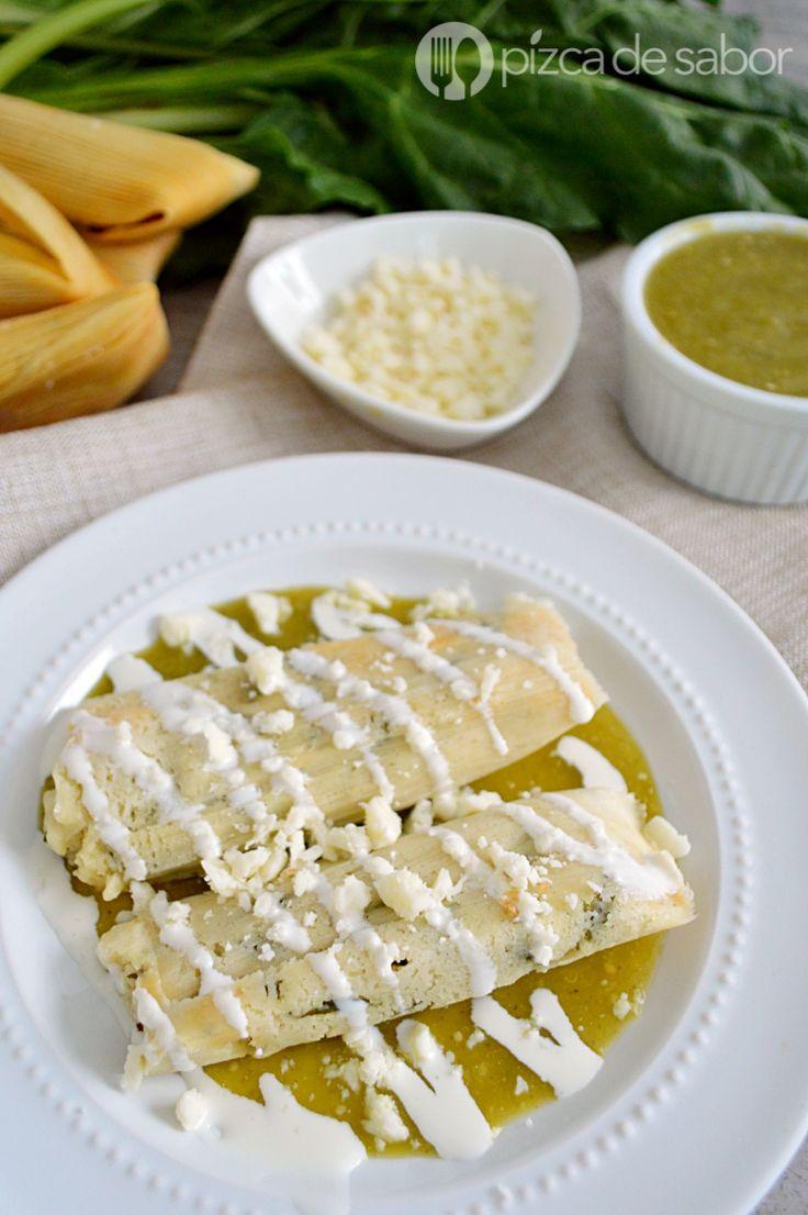 Tamales de acelgas con queso www.pizcadesabor.com