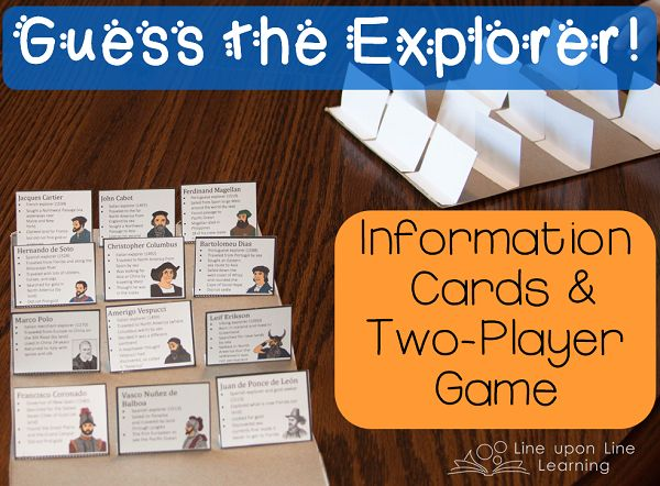 """We have fun reviewing the world explorers by playing a game....much like """"Guess Who?"""" by Hasbro.  Explorer Game for Two Players 