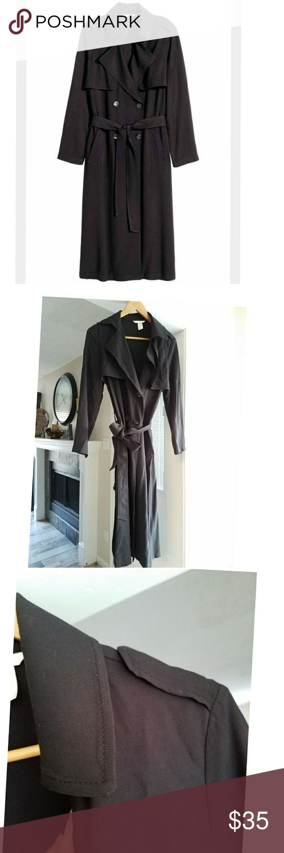 NWOT H&M black trench coat with slits. NWOT H&M black trench coat with slits on both sides. H&M Jackets & Coats